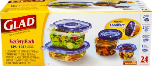 Gladware Food Storage Containers Variety Pack, 24 Count (Pack Of 2)