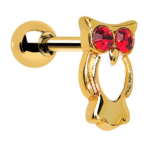 Red Gem Gold Astute Owl Cartilage Earring