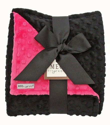 Meg Original Hot Pink & Black Baby Girl Minky Dot Blanket