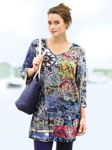 Ulla Popken Plus Size Foil Print Knit Tunic