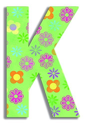 The Kids Room by Stupell Green Modern Flower Hanging Wall Initial, K
