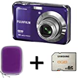 Fujifilm FinePix AX550 Purple + 8GB Memory Card and Case (16MP, 5x Optical Zoom) 2.7 inch LCD