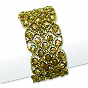 Brass-tone Olive Acrylic Beads Stretch Bracelet