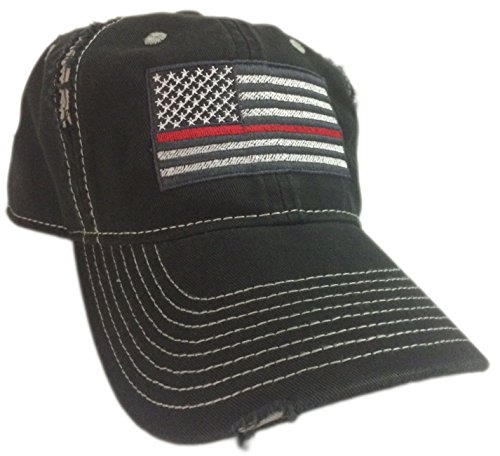 BlvdNorth Thin Red Line American Flag Hat cap Black chrome Support firefighters (Firefighter Cap compare prices)