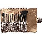 Youngman 12 Pcs Pro Makeup Brush Set Cosmetic Tool Leopard Bag Beauty Brushes