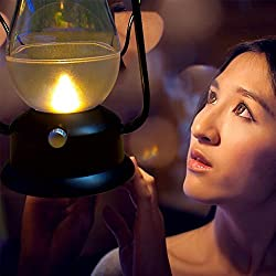 NAMEO Blowing Control LED Lamp USB Rechargeable Vintage Oil Lantern Design with Dimmer Control Key for Indoor Outdoor Reading Camping Fishing