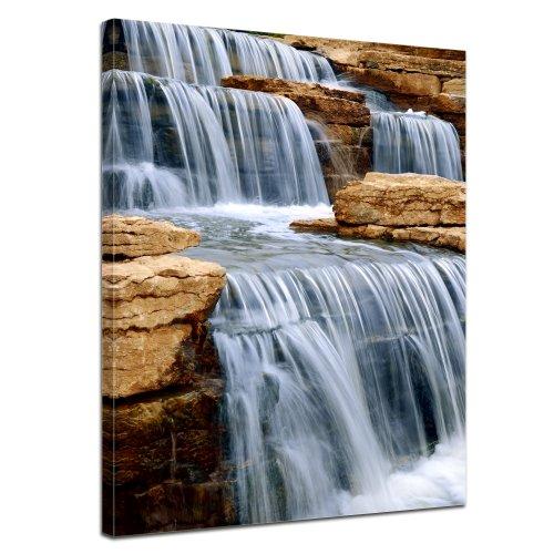 Bilderdepot24 Leinwandbild Cascading Wasserfall - Australien - 50x70 cm 1 teilig - fertig gerahmt, direkt vom Hersteller