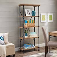 Better Homes and Gardens River Crest 5-Shelf Bookcase (Rustic Oak Finish)