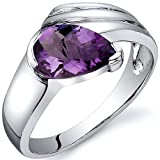 Revoni Contemporary Pear Shape 1.00 carats Amethyst Ring in Sterling Silver Size N 1/2,