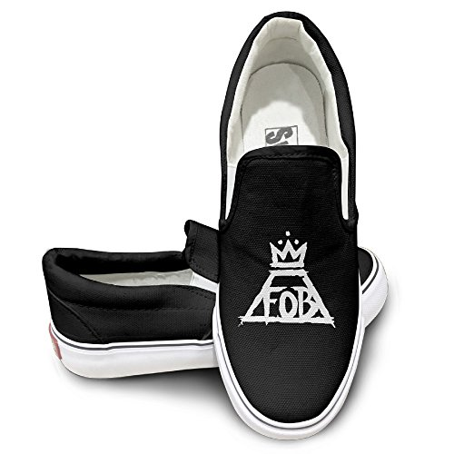 PTCY Fall Out Boy Rock Band Logo Oxford Unisex Flat Canvas Shoes Sneaker 35 Black (35 Round Nerf compare prices)