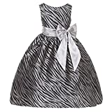 Girls Animal Print Velvet Flocking Taffeta Christmas Dress Silver Black 2-12