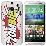 HTC One M8 (New 2014 Model) Case - White Hard Plastic (PC) Cover with Zombies Eat Flesh Design