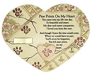 Remembrance Plaque Pet Memorial Paw Prints On My Heart Pet Marker Markers Indoor/Garden Plaque, Stone Look by Banberry Designs