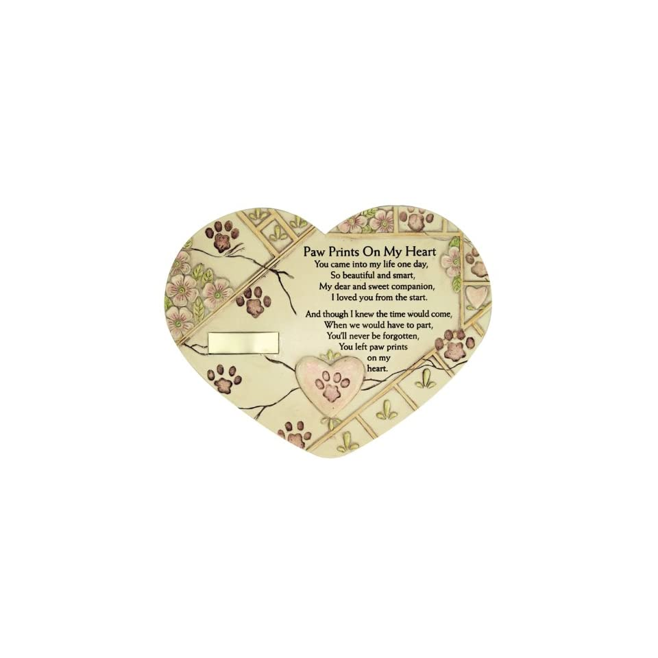 Remembrance Plaque Pet Memorial Paw Prints On My Heart Pet Marker Markers Indoor/Garden Plaque, Stone Look