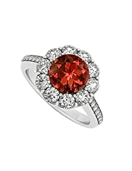 925 Sterling Silver January Birthstone Garnet And Cubic Zirconia Halo Engagement Ring