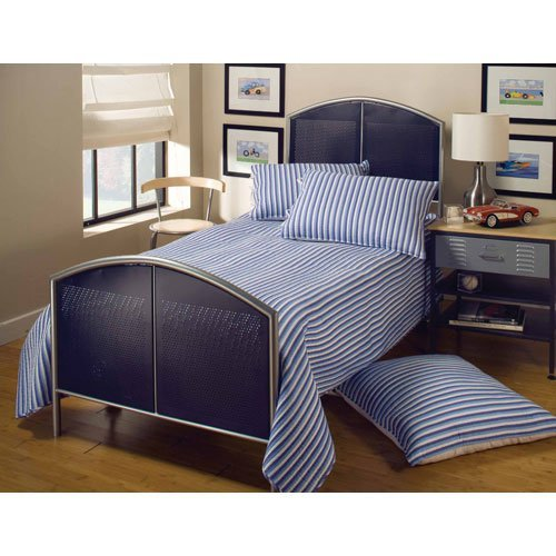 Hillsdale Furniture 1177BT Universal Mesh Bed Set, Twin, Silver/Navy