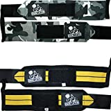 Nordic Lifting Unisex Wrist Wraps for Weightlifting/Crossfit/Powerlifting/Bodybuilding, 2 Pairs/4 Wraps (Camo Grey & Black/Yellow)