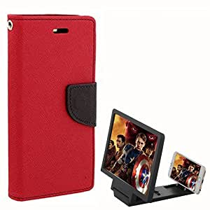 Aart Fancy Diary Card Wallet Flip Case Back Cover For One Plus One - (Red) + 3D HD Movie Video Amplifier with Foldable Holder Stand for all moblie phones by Aart Store.