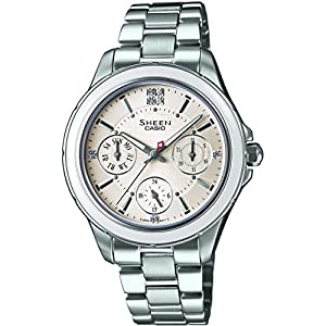 Casio SHE-3508D-7AUER Ladies Sheen Silver Tone Steel Bracelet Watch