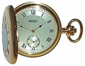 Bernex Swiss Made Mechanical Gold Plate Demi Hunter Pocket Watch