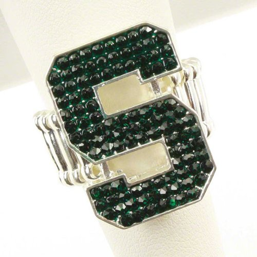Michigan State MSU Spartans Crystal S Logo Stretch Ring