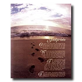Footprints In The Sand Ocean Beach Religious Picture Art Print