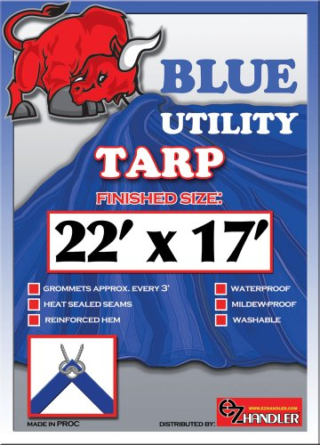 22ft x17ft Blue 6-mil Waterproof Poly Tarp Camp Tarp Tarpaulin for Camping Tent Shelter Shade Canopy