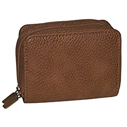 Buxton Womens RFID Accordion Double Zippered Wizard Credit Card ID Holder Travel Wallet (Mahogany)