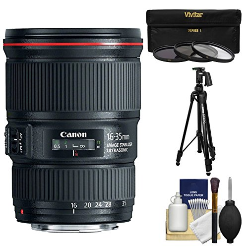Canon EF 16-35mm f/4L IS USM Zoom Lens with Canon Tripod + 3 Filters Kit for EOS 6D, 70D, 5D Mark II III, Rebel T3, T3i, T4i, T5, T5i, SL1 DSLR Cameras (Canon Ef 16 35 F4 compare prices)