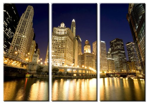 Picture Sensations Framed Huge 3-Panel City Skyline Downtown Chicago River Giclee Canvas Art (Chicago Skyline Framed Picture compare prices)
