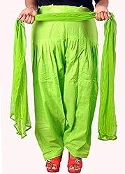 Tinnu G Women's Cotton Salwar and Dupatta Set (TGCSD1107_Light Green_Free Size)