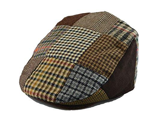 Mens Winter Plaid Tweed Flat Ivy Driver Hat Cabbie Patch Work Ivy Cap M, L, XL (L(23 in / 7 3/8 / 59 cm), Bro(1655))