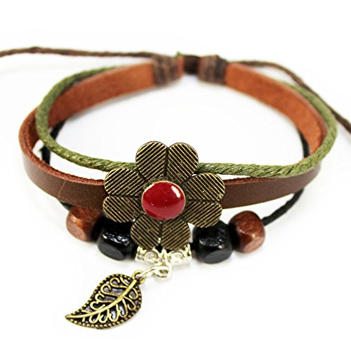 Real Spark Red Lucky Flower Leaf Pendant Wood Cube Beaded Adjustable Length Wrap Bracelet