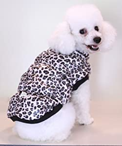 "Leopard Pattern Dog Coat Jacket, Warm Poly Filling, Water Resistant, S/M 12""-14"""