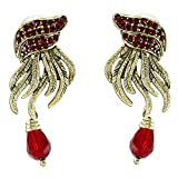 New age design maroon stone and gold earrings