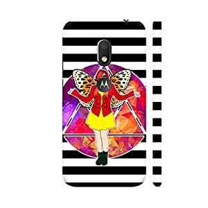 Colorpur Born To Be Free On Black And White Stripes Designer Mobile Phone Case Back Cover For Motorola Moto G4 Play with hole for logo | Artist: Sangeetha