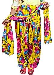 Tinnu G Women's Rayon Salwar and Dupatta Set (TGRPS1003_Yellow_Free Size)