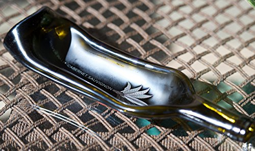 Wine bottle - gently slumped into a bowl or spoon rest - Silver Palm Cabernet bottle