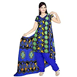 Sonal Trendz Black & Dark Blue color Leon Printed Art silk Dress Material.