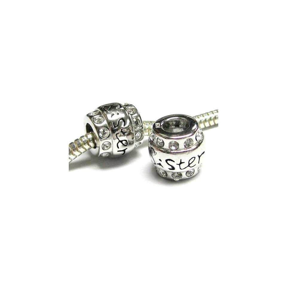 Queenberry Sterling Silver Sister SiS Cz Bead For Pandora Charm Bracelet Troll European Jewelry