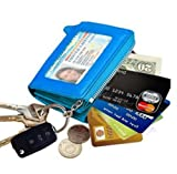 edfamily Echtleder Schlüsselmäppchen Kreditkartenetui Geldbeutel Schlüsselanhänger für Damen und Herren