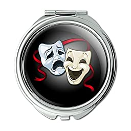 Drama Comedy Tragedy Masks Theater Compact Purse Mirror