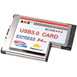 tinxi® Adaptateur Super Speed Express Card USB 3.0 2 ports Taux de transfert max. 5 Gb/s Compatible USB 1.1 et 2.0, 54 mm