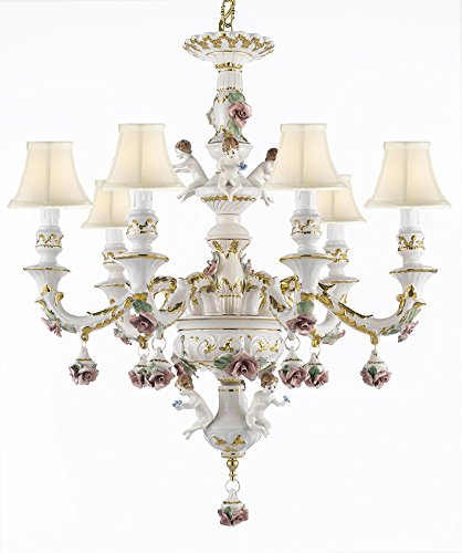 Authentic Capodimonte Porcelain Chandelier Lighting Chandeliers w/ Cherub Angels Made in Italy! Good for Dining Room, Kids & Girls Bedrooms 24K Gold Trimmed w/ Roses & Flowers-Limited Stock Available - With White Shades!