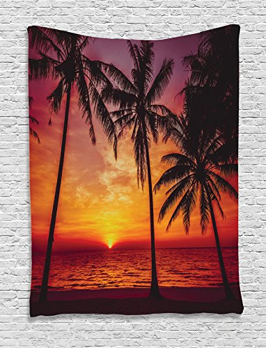 Ambesonne-Tropical-Decor-Collection-Sunset-Tropical-Beach-Palm-Trees-Peaceful-Ocean-Evening-View-Resort-Picture-Bedroom-Living-Room-Dorm-Wall-Hanging-Tapestry-Black-Red-Orange