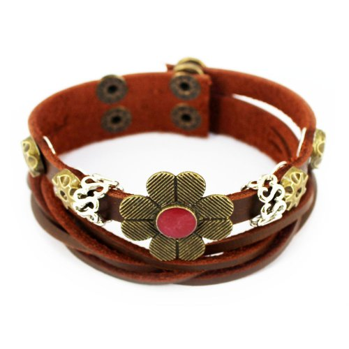 Wild Wind (TM) Christmas Four-Petal Lucky Flower Button Tibet Vintage Charm Adjustable Brown Wrap (Jelly Bracelts)