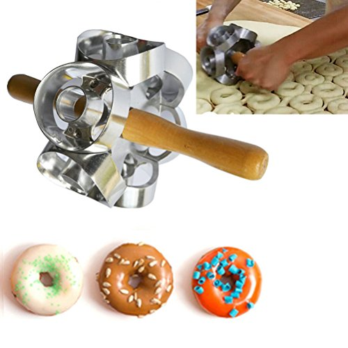 Rollving Heavy Duty Metal Donut Cutter Mold Doughnut Maker Tool Rolling Donut Maker Cutter Mold Fondant Cake Bread Desserts Bakery Mould for DIY Home Baking (Donut Hole Machine compare prices)