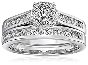 14k White Gold Unity Diamond Bridal Ring Set (1 cttw, H-I Color, I1-I2 Clarity), Size 7 from Amazon Collection