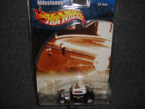 HOT WHEELS AUTO MILESTONES WHITE AND BLACK 1932 FORD DIE-CAST COLLECTIBLE - 1