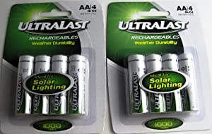 ULTRALAST RECHARGEABLE AA NICD BATTERIES FOR SOLAR LIGHTING X 1000 TIMES 8BATTERIES